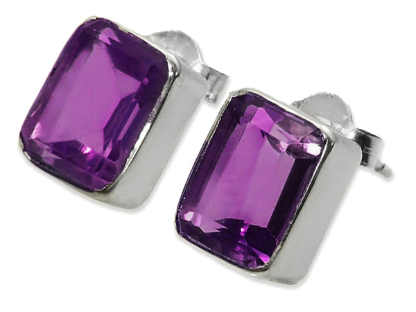 Small Square Gemstone Studs Amethyst
