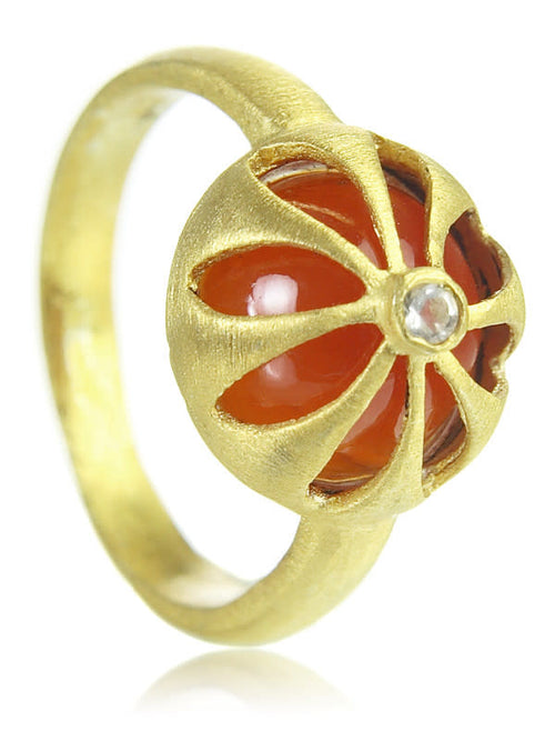 18K Gold Plated Arabesque Flower Cut Out Ring Carnelian