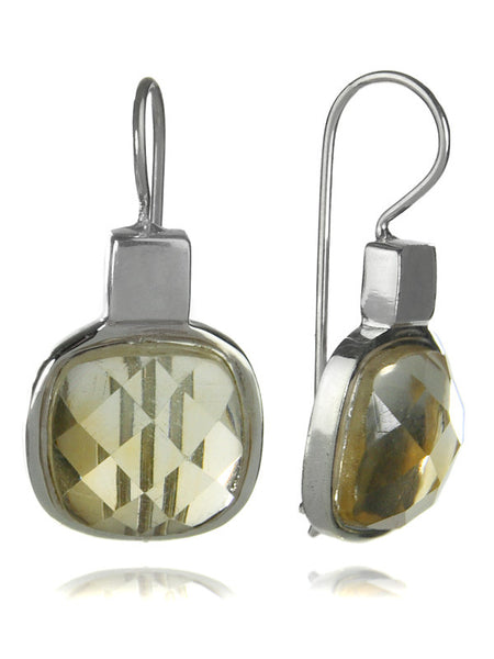 Faceted Rounded Square Earrings (Citrine)