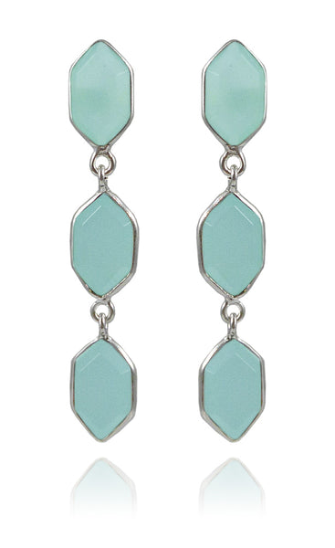 Three Glacier Drop Studs Aqua Chalcedony