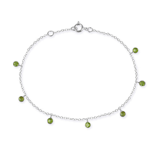 7 Stone Kathak Dangle Bracelet Peridot