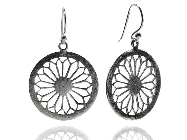 Single Arabesque Cut Out Earrings - Brushed
