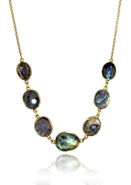 7 Stone Amazon Necklace Labradorite