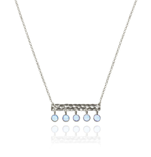 5 Stone Bavaria Bar Necklace Blue Topaz