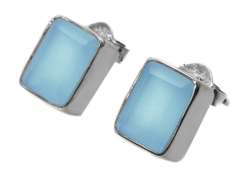 Small Square Gemstone Studs Blue Chalcedony