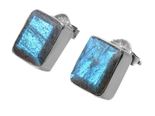 Small Square Gemstone Studs Labradorite