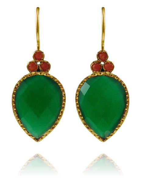 Fancy Peacock Earrings Green Onyx and Coral