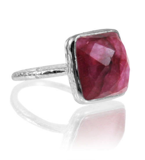 Capri Large Stackable Square Ring Rough Cut Ruby