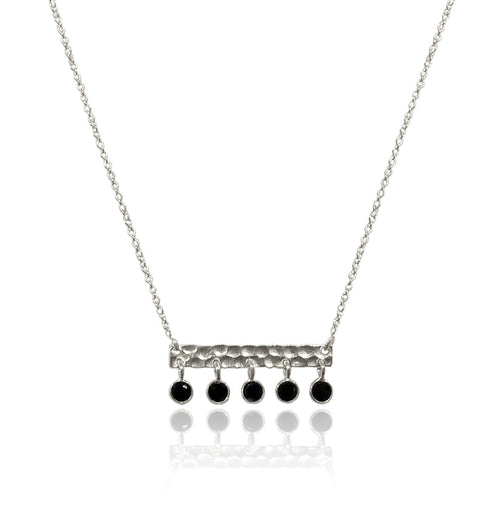 5 Stone Bavaria Bar Necklace Black Onyx