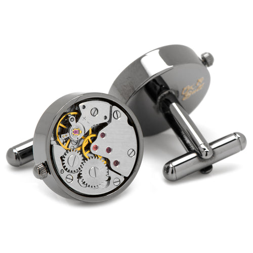 Gunmetal Watch Movement Cufflinks