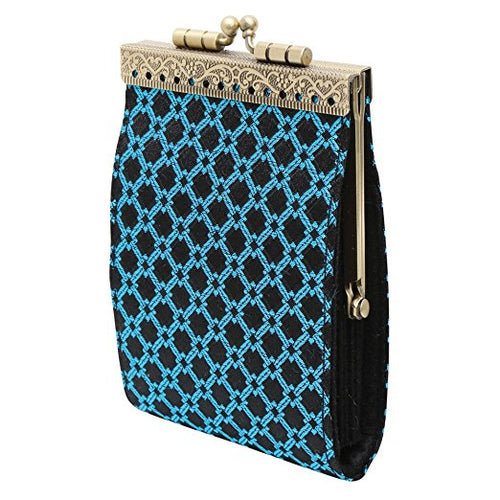Card Holder Black and Turquoise Checkers