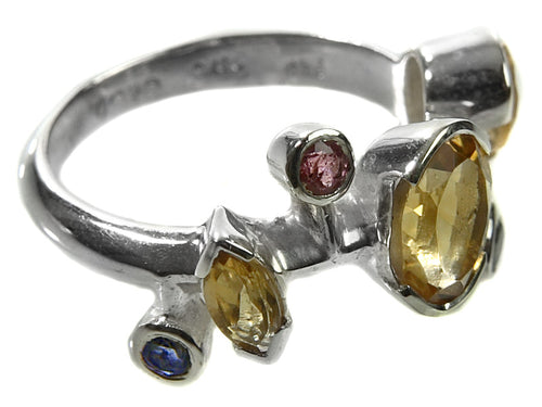 Six Stone Single Line Ring Citrine