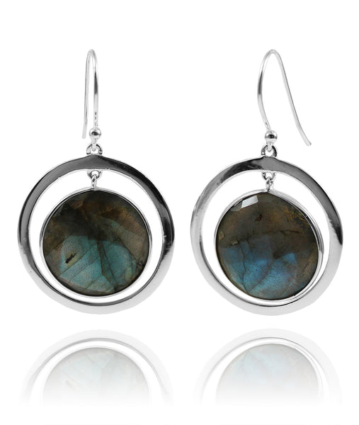 Mexico Art Deco Circle and Stone Earrings Labradorite