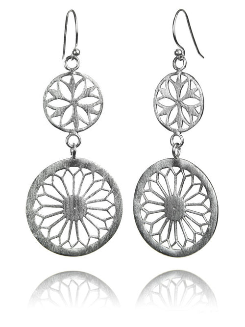 Large Two Drop Arabesque Cut Out Earrings