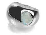 Gaudi Dome Ring with Faceted Stone White Moonstone 8