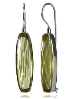 Mini Faceted Vertical Drop Earrings Lemon Topaz