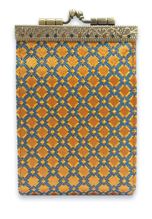 Card Holder Orange and Blue Checkers
