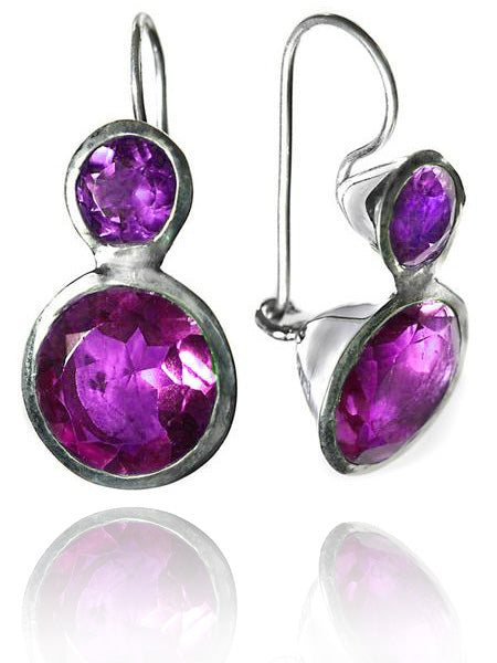 Large Jaipuri Two Stone Drop Earrings Amethyst