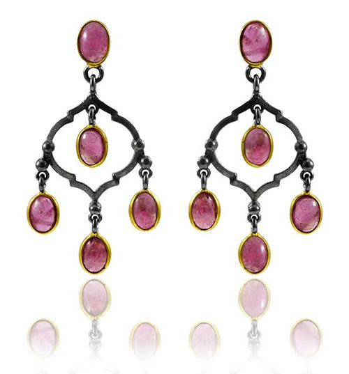 Arabesque Chandelier Earrings - Pink Tourmaline