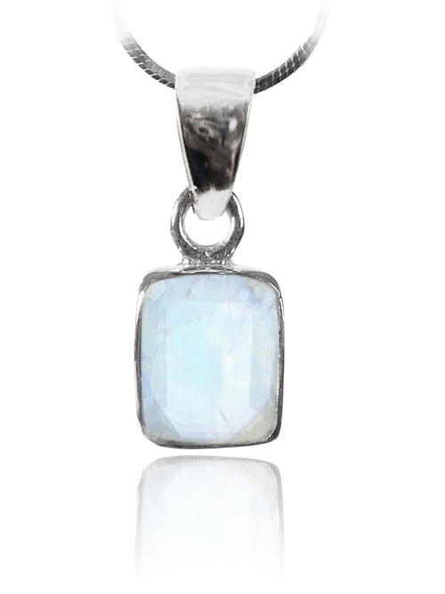 Small Rectangular Pendant White Moonstone