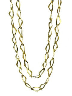 Gold Plated Italian Matte Double Masquerade Linked Necklace