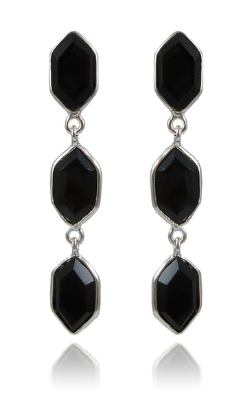 Three Glacier Drop Studs Black Onyx