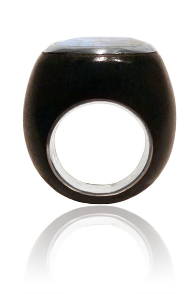 Mexican Art Deco Ebony Cocktail Ring White Moonstone