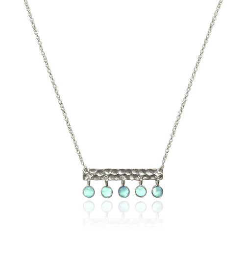 5 Stone Berlin Bar Necklace Aqua Chalcedony