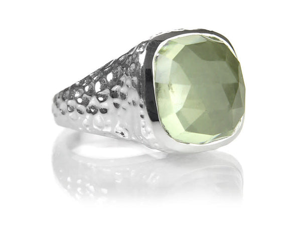 Gaudi Pointalism Square Cocktail Ring Green Amethyst
