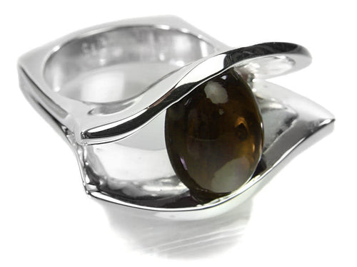 Aida Ring Smokey Quartz Cabochon
