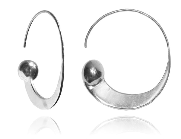 Swirly Earrings with Silver Ball
