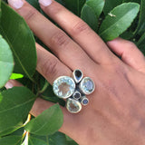Slim Flower Cocktail Ring Black Onyx and Black Rutile Quartz