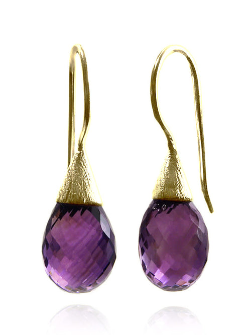 18K Gold Plated Small Quartz with Brushed Top Earrings Amethyst