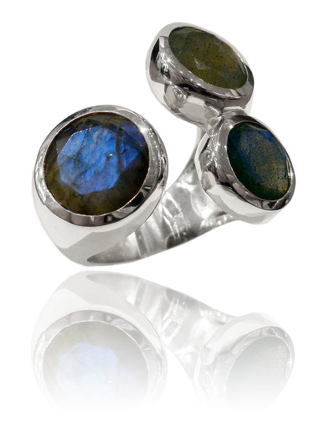 Three Stone Jaipuri Non-Connect Ring Labradorite