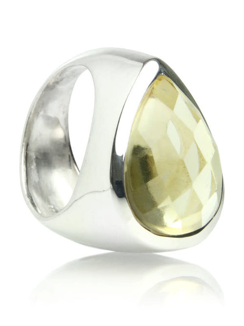 Side Paisley Ring Raised Citrine