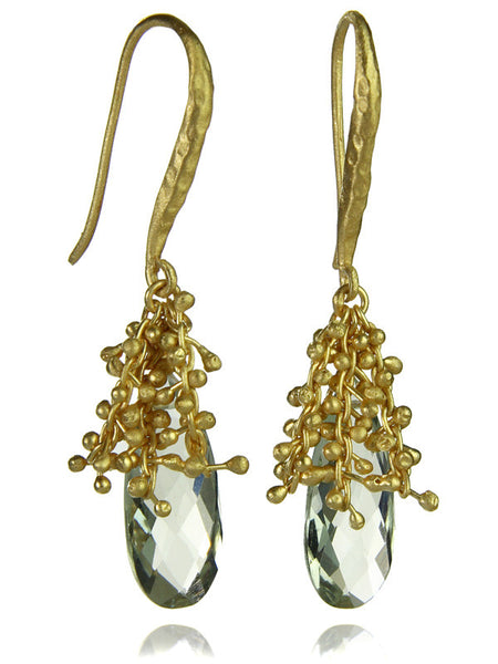18K Gold Plated Oblong Burst Earrings Green Amethyst