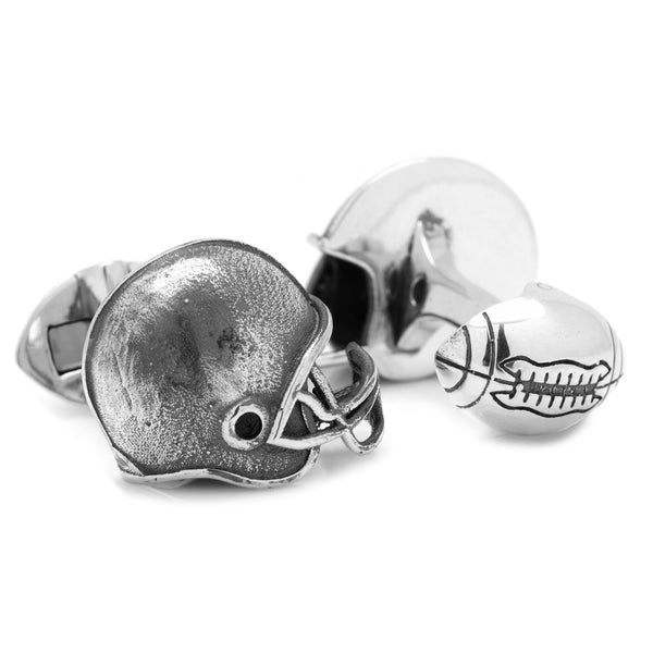 Sterling SIlver Football Helmet Cufflink