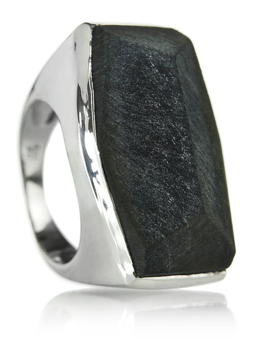 Brazilian Rough Cut Cocktail Ring Black Tigers Eye