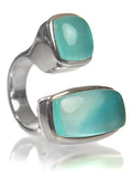 Two Stone Non-Connect Ring Aqua Chalcedony Cabochon 6
