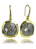 18K Gold Plated Framed Rounded Square Classic Earrings Black Rutile Quartz