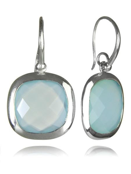 Framed Rounded Square Classic Earrings Aqua Chalcedony