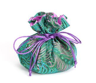 Jewelry Pouch Green and Pink Peacock