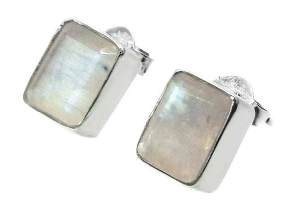 Small Square Gemstone Studs White Moonstone