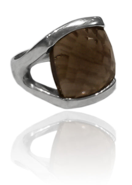 Square Open Sided Cocktail Ring Smokey Quartz