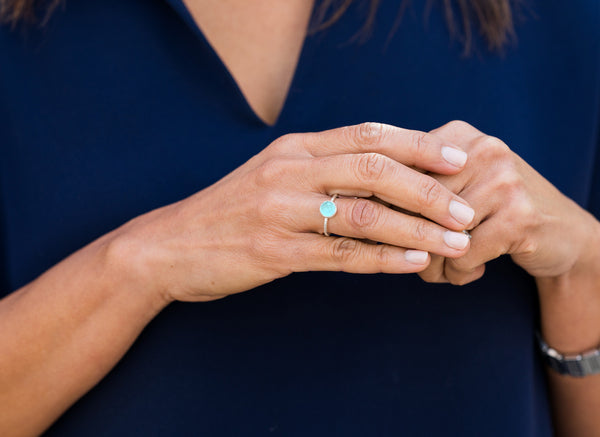 Capri Small Circle Ring Green Amethyst
