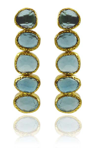 Single Line Peacock Earrings Blue Topaz