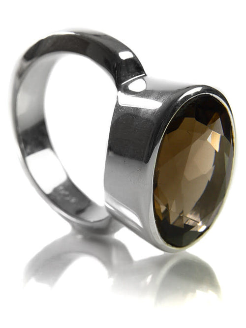 Oval Italian Ring Smokey Quartz