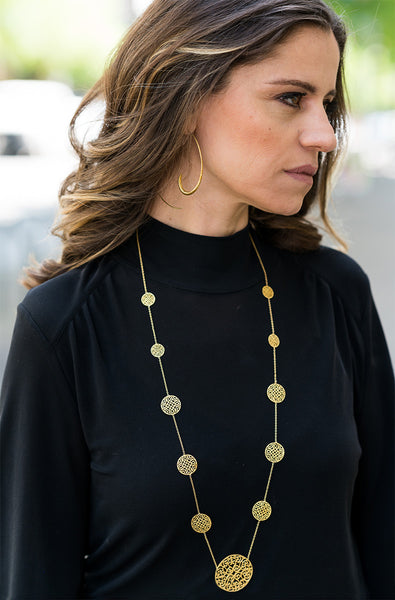 18K Gold Plated 11 Disc Arabesque Long Necklace