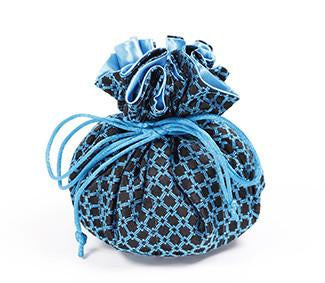Jewelry Pouch Black and Blue Checkers
