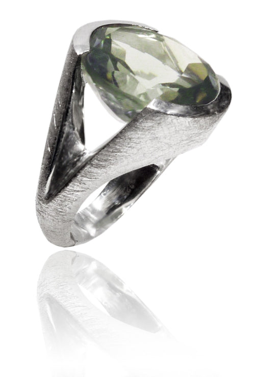 Italian Faceted Cocktail Ring with Open Side Brushed Band